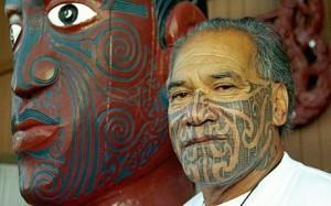 Ngapuhi Maori elder Kingi Taurua's traditional facial tattoo (Photo: AFP)